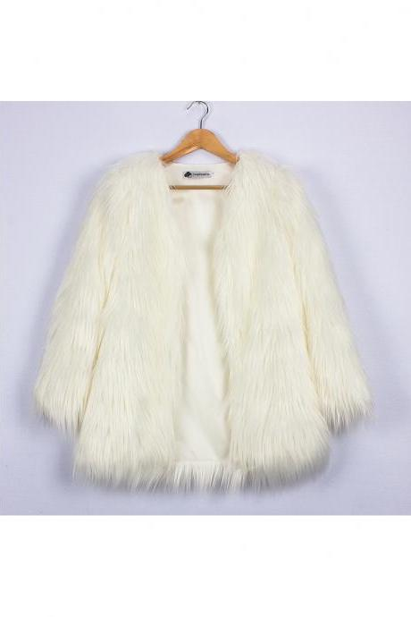 Plus Size Women Fluffy Faux Fur Coats Long Sleeve Winter Warm Long Jackets Female Outerwear off white