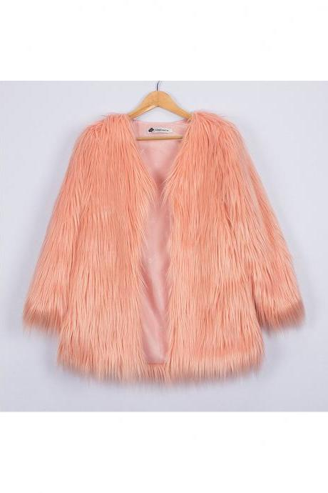 Plus Size Women Fluffy Faux Fur Coats Long Sleeve Winter Warm Long Jackets Female Outerwear salmon