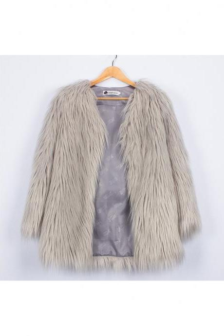 Plus Size Women Fluffy Faux Fur Coats Long Sleeve Winter Warm Long Jackets Female Outerwear silver gray