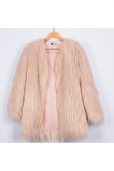 Plus Size Women Fluffy Faux Fur Coats Long Sleeve Winter Warm Long Jackets Female Outerwear light pink