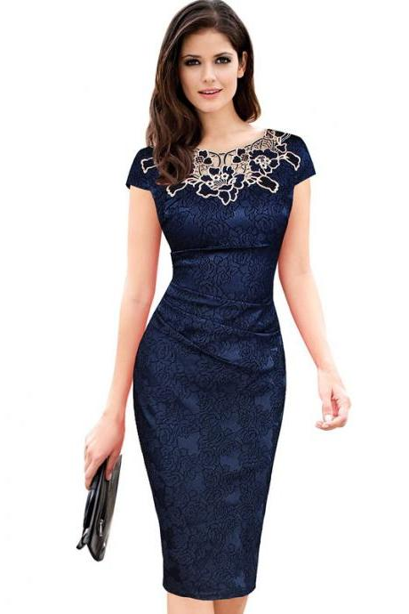 Vintage Lace Wear to Work Dress Women Short Sleeve Sheath Bodycon Office Pencil Dress navy blue