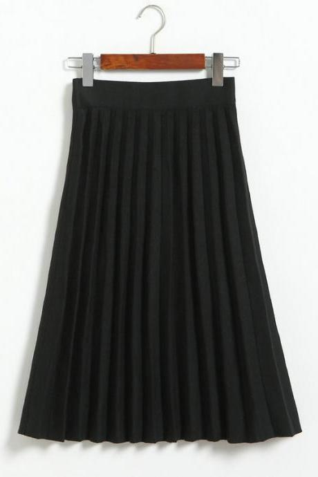 Fashion Knitted Pleated Skirt Autumn Winter High Waist Below Knee Midi A Line Office Skirt black