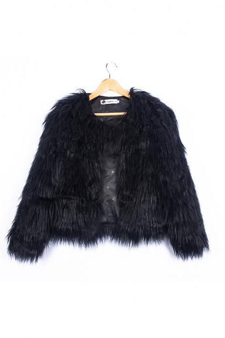 Plus Size 4XL Women Fluffy Faux Fur Coats Long Sleeve Winter Warm Jackets Female Outerwear black