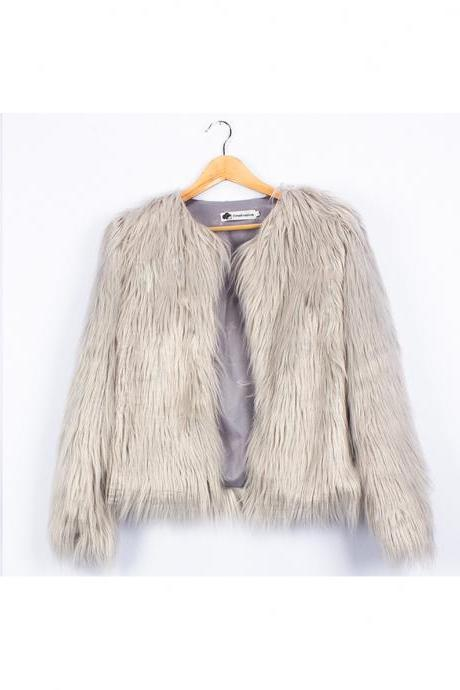 Plus Size 4XL Women Fluffy Faux Fur Coats Long Sleeve Winter Warm Jackets Female Outerwear silver