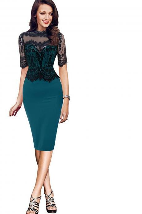 Sexy Bandage Bodycon Party Dress Women Office Half Sleeve Lace Patchwork Pencil Dress green