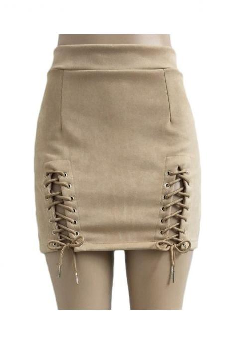 Women Faux Suede Mini Skirt Classic Sexy Bandage High Waist Lace Up Bodycon Short Pencil Skirt apricot