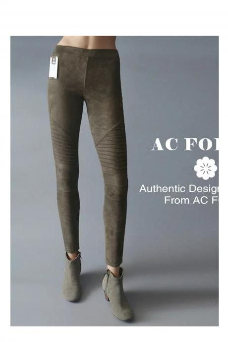 Fashion Women Leggings Faux Suede Elastic Waist Leggings Warm Trousers Slim Fitness Pencil Pants army green
