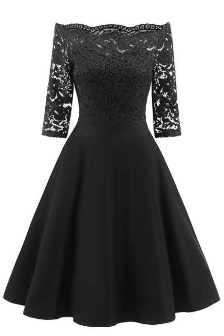 Vintage Floral Lace Dress Off the Shoulder 3/4 Sleeve Women A Line Cocktail Evening Party Swing Dress black