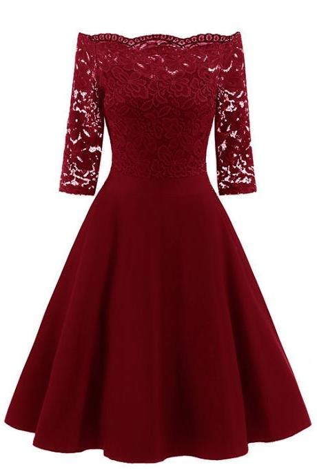 Vintage Floral Lace Dress Off the Shoulder 3/4 Sleeve Women A Line Cocktail Evening Party Swing Dress burgundy