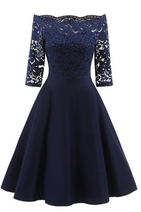 Vintage Floral Lace Dress Off the Shoulder 3/4 Sleeve Women A Line Cocktail Evening Party Swing Dress navy blue