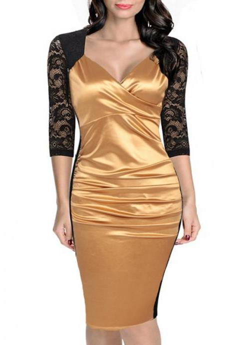 Women Bodycon Dress Sexy Lace Patchwork 3/4 Sleeve Wear to Work Sheath Office Party Pencil Dress gold