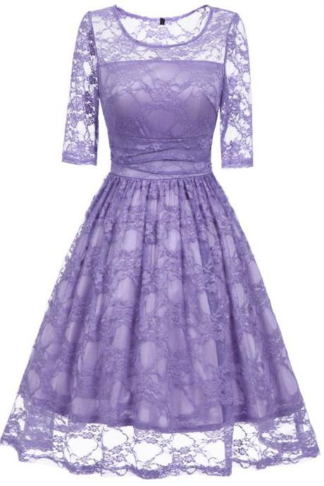 Vintage Floral Lace Dress Elegant Half Sleeve A Line Cocktail Evening Party Swing Dress lilac