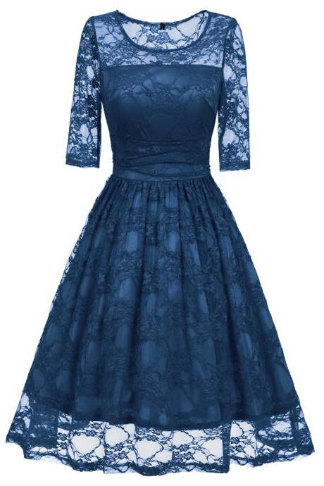 Vintage Floral Lace Dress Elegant Half Sleeve A Line Cocktail Evening Party Swing Dress Turquoise