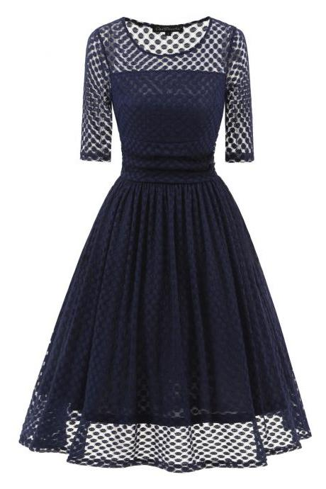 Vintage 50 60s Polka Dot Casual Dress Elegant Half Sleeve Women A Line Swing Cocktail Party Dress navy blue