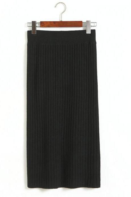 Black Ribbed Knit High Rise Midi Pencil Skirt
