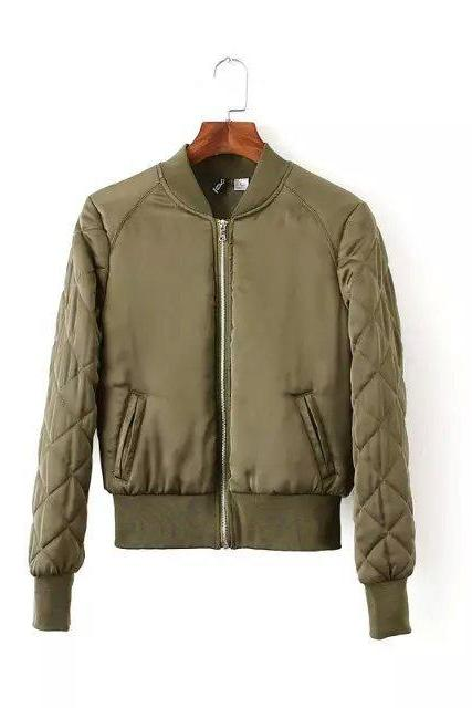 Winter Women Bomber Jacket Military Style Aviator Baseball Biker Basic Coat Streetwear Outerwear Windbreaker army green
