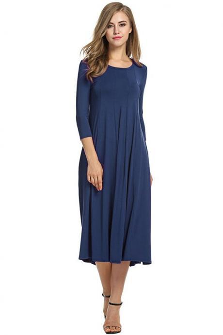 Women Casual Dress Spring Autumn Solid O Neck Long Sleeve Below Knee Loose A Line Swing Dress navy blue