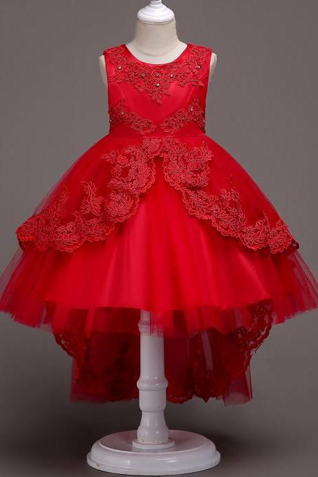 High Low Lace Flower Girls Dress Wedding Teens Prom Party Perform Gowns Kids Children Clothes red