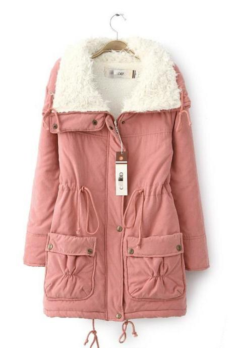Winter Women Thick Long Fleece Coat Warm Turn Down Collar Fashion Parka Jackets Female Outerwear pink