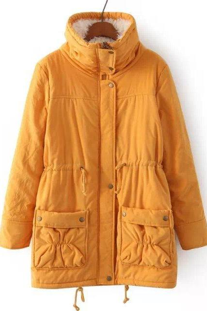 Winter Women Thick Long Fleece Coat Warm Turn Down Collar Fashion Parka Jackets Female Outerwear yellow