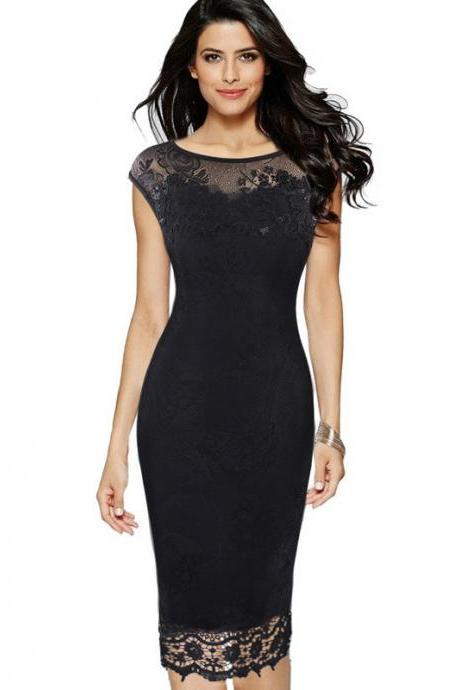 Plus Size Women Pencil Dress Butterfly Lace Sheath Business Office OL Bodycon Party Dress black