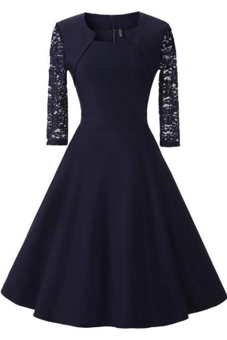 Vintage 50 60s Lace Patchwork Dress Women 3/4 Sleeve Rockabilly Swing Cocktail Prom Party Dress navy blue