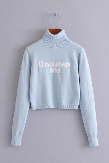 Baby Blue 'UNWRAP ME' Turtleneck Long Cuffed Sleeves Sweater