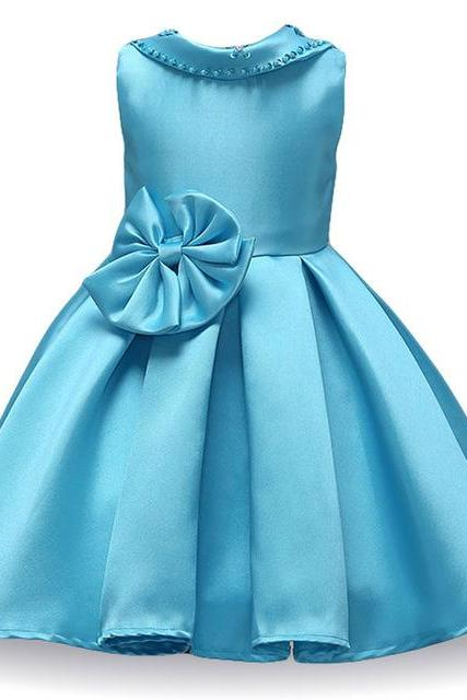 Infant Princess Flower Girls Dress Kids Wedding Bridesmaid Party Tutu Gown Children Clothes sky blue