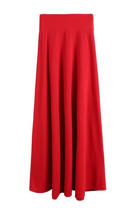 Elegant High Waist Pleated Skirt Women Faldas Saia Plus Size Long Skirt red