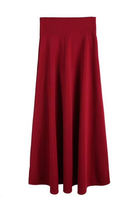 Burgundy High Rise Ruffled A-Line Maxi Skirt, Plus Size
