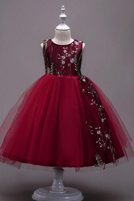 Embroidery Flower Girl Dress Sleeveless Princess Formal Prom First Communion Party Gown Kids Children Clothes burgundy