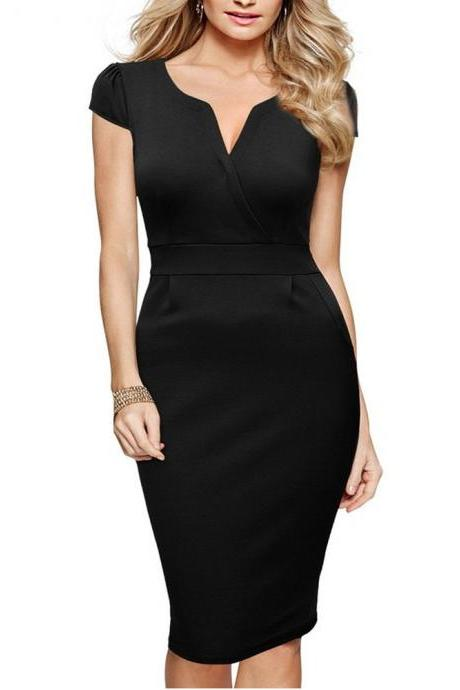 Womens V Neck Work Party Dress Cap Sleeve Slim Tunic Business Bodycon Sheath Pencil Dress black