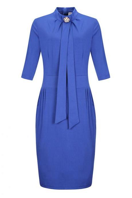 Women Plus Size Office Dress Stand Collar Half Sleeve Wear to Work Sheath Pencil Dress blue