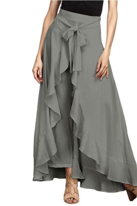 Women Wrap Skirts New Casual Fashion Tie-Waist Ruffles Wide Leg Loose Pants gray