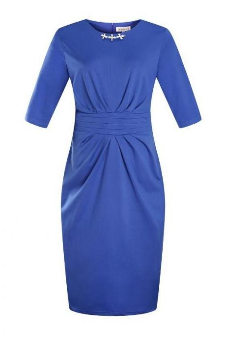 Women Plus Size Work Office Party Dress Half Sleeve Ruched Split Bodycon Pencil Dress blue