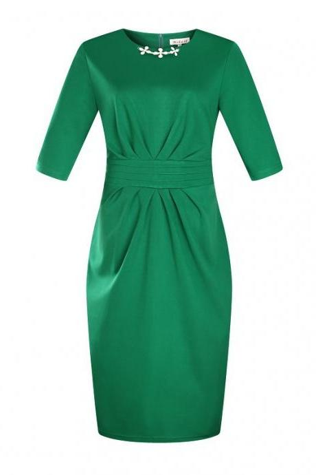 Women Plus Size Work Office Party Dress Half Sleeve Ruched Split Bodycon Pencil Dress green