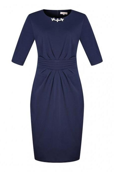 Women Plus Size Work Office Party Dress Half Sleeve Ruched Split Bodycon Pencil Dress navy blue