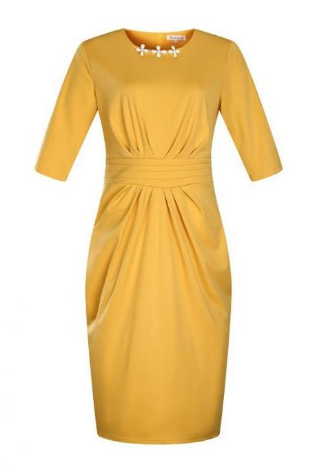 Women Plus Size Work Office Party Dress Half Sleeve Ruched Split Bodycon Pencil Dress yellow