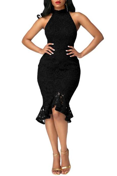 Sexy Mermaid Lace Pencil Dress Sleeveless High Neck Women Bodycon Slim Cocktail Party Dress black