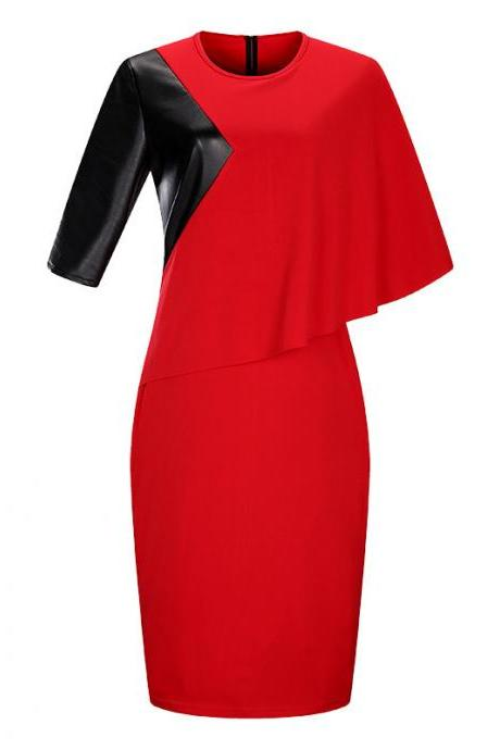Women Bodycon Pencil Dress Cloak Sleeve Patchwork Faux Leather Plus Size Party Dress red