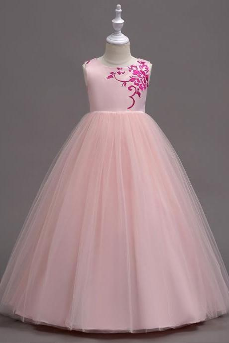 Embroidery Flower Girl Dress Princess Wedding Little Bridesmaid Party Gown Kids Children Clothes pink