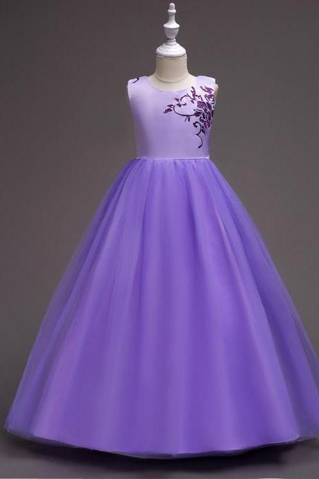 Embroidery Flower Girl Dress Princess Wedding Little Bridesmaid Party Gown Kids Children Clothes purple