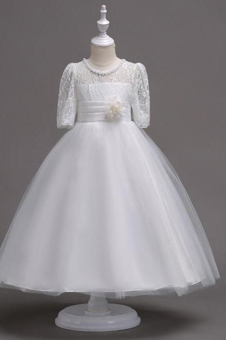 Princess Lace Flower Girl Dress Short Sleeve Wedding First Communion Party Gown Kids Children Clothes off white