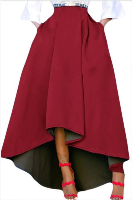 Women Maxi A Line High-Low Skirt Vintage Long Puffy Pockets Prom Party Skirt burgundy
