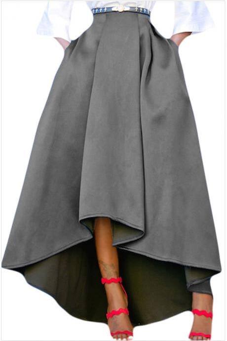 Women Maxi A Line High-Low Skirt Vintage Long Puffy Pockets Prom Party Skirt gray