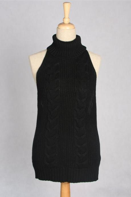 Black Knit Turtleneck Sleeveless Top