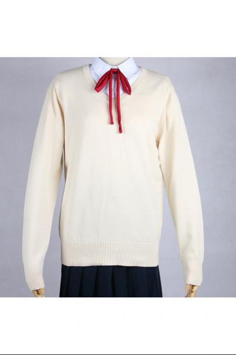Japanese School Harajuku Style JK Uniforms Sweater Long Sleeve Students Knitted V-Neck Sweater apricot