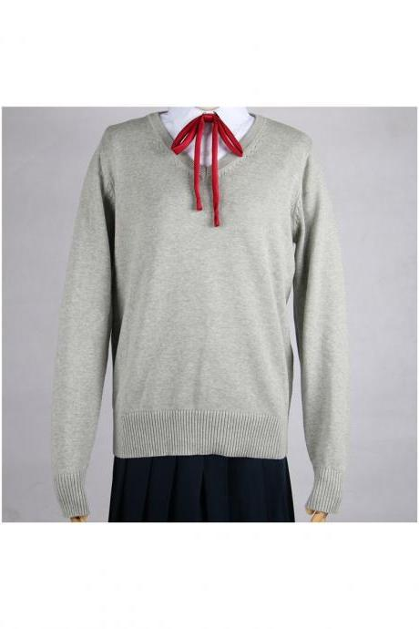 Japanese School Harajuku Style JK Uniforms Sweater Long Sleeve Students Knitted V-Neck Sweater gray