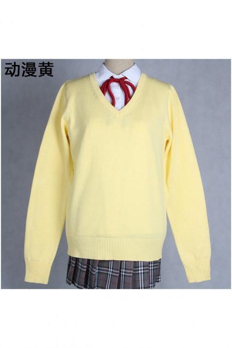 Japanese School Harajuku Style JK Uniforms Sweater Long Sleeve Students Knitted V-Neck Sweater yellow