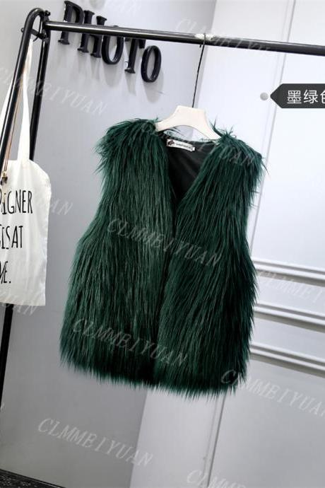 Women Faux Fur Vest Solid Winter Loose Oversize Female Sleeveless Jacket Waistcoat hunter green